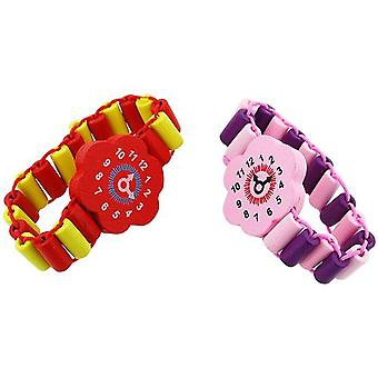 TOC Kids Pack of 2 Purple / Pink & Red / Yellow Wood Bead Flower Watch Bracelet