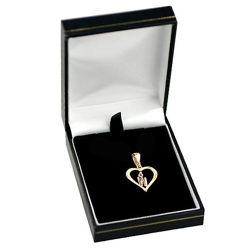 9ct Gold 18x18mm heart Pendant with a hanging Initial W