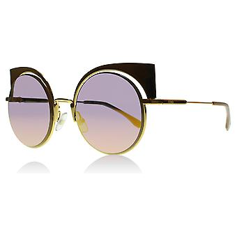 Fendi FF0177/S 001OJ Gold 0177/S Round Sunglasses Lens Category 2 Lens Mirrored Size 53mm