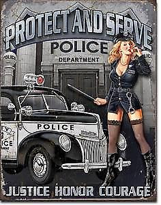 Police Dept. Protect & Serve metal sign (de)