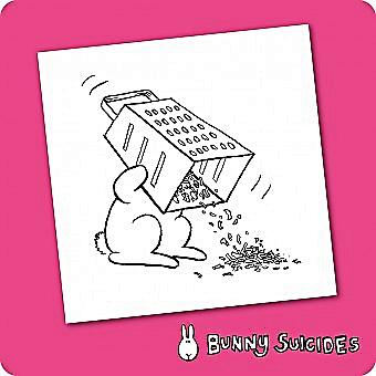 Bunny Suicides Death By Grater single funny drinks coaster  (hb) (1)