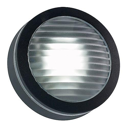 Endon EL-40032-BL Modern Round Black Aluminium Outdoor Wall Light Bulkhead