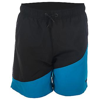 Junior Boys Speedo Colour Block 15� Swim Shorts In Black Blue- Ribbed Waistband-