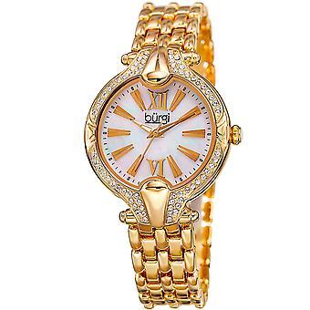 Burgi Women's BUR163  Swarovski Crystal Bezel Mother of Pearl Bracelet Watch BUR163YG