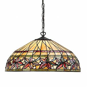 3 Light Large Ceiling Pendant Dark Bronze, Tiffany Glass