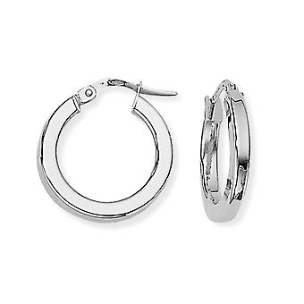 Jewelco London Ladies 9ct White Gold Square Tube Round Hoop Earrings - 17mm