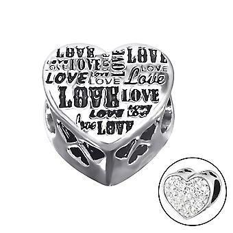 Heart Love - 925 Sterling Silver Jewelled Beads - W10607X