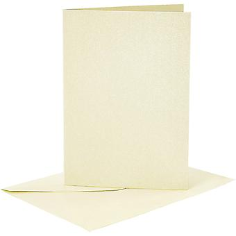 4 A6 Pearl Pastel Yellow Card Blanks and Envelopes for Crafts
