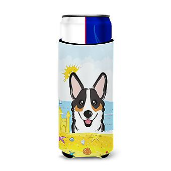 Tricolor Corgi Summer Beach Michelob Ultra Koozies for slim cans BB2123MUK