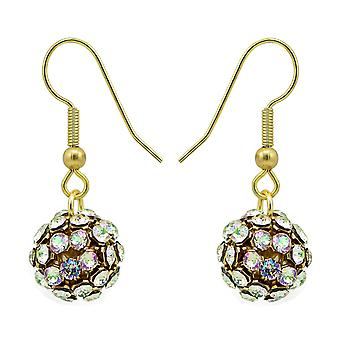 Luminous Green Crystal Mesh Ball Earrings EMB112.14