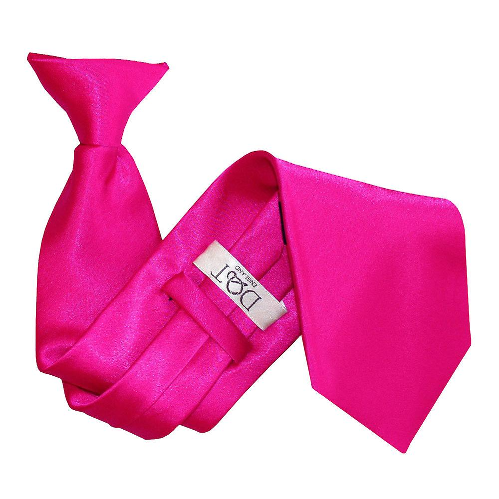 Plain Hot Pink Satin Clip On Tie