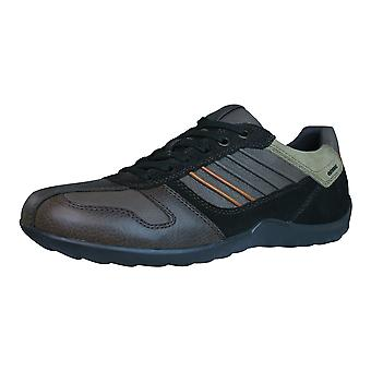 Geox U Pavel A Pull Up Mens Leather Trainers / Shoes - Coffee