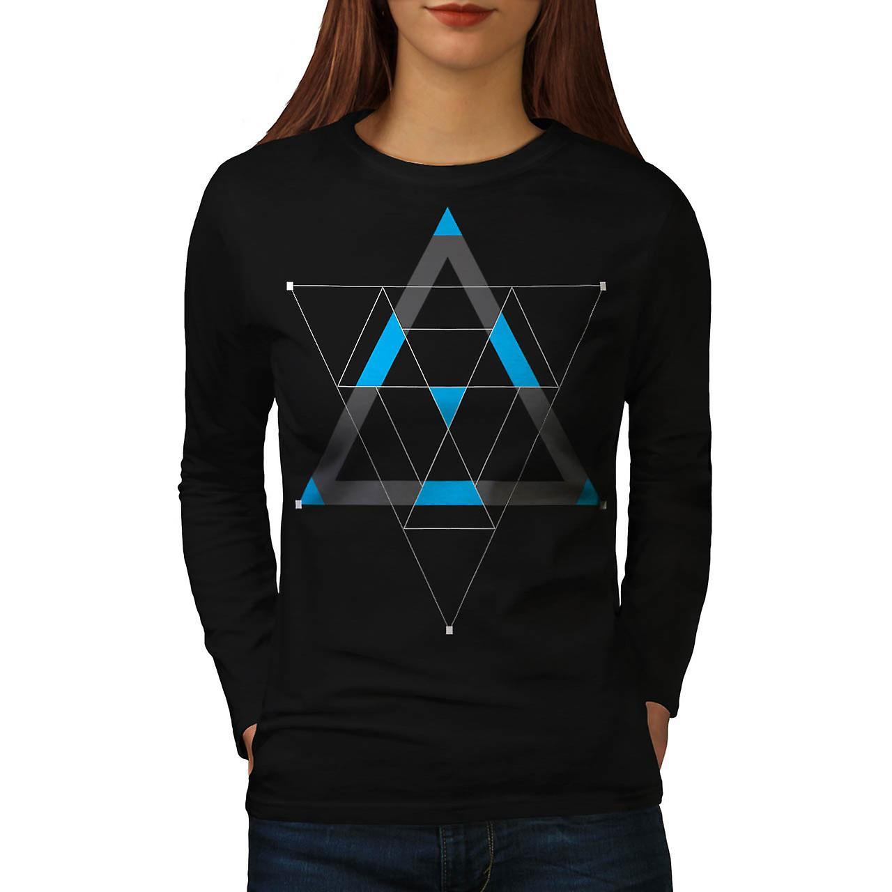 Kaleidoscope Dream Life Hypnotic Women Black Long Sleeve T-shirt | Wellcoda