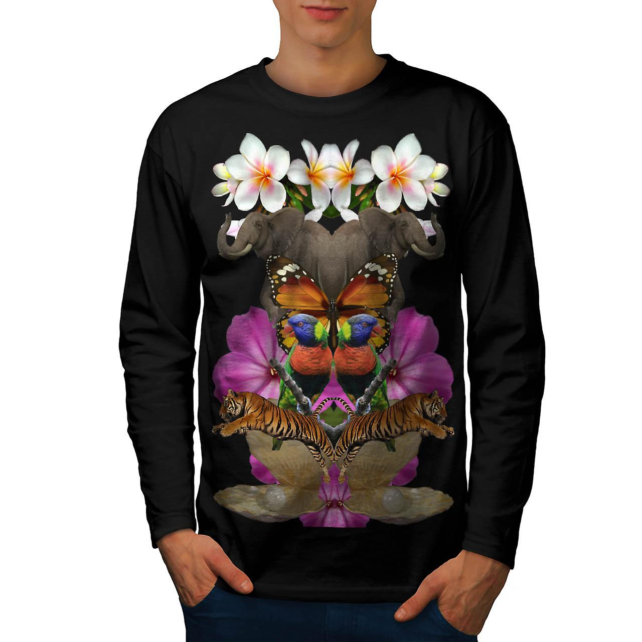 Wild Animal Paradise Pearl Clam Men Black Long Sleeve T-shirt | Wellcoda