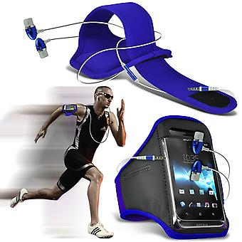 ( Blue + Earphones) Doogee X5S case High Quality Fitted Sports Armbands Cover By i-Tronixs