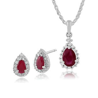 Gemondo 9ct White Gold Ruby & Diamond Cluster Stud Earrings & 45cm Necklace Set