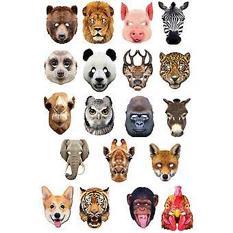 Dyr 2D kort Party Face masker sort 19 Pack