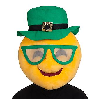 St Patrick's Day Yellow Plush Smiley Face Mascot Mask With Green Hat & Glasses