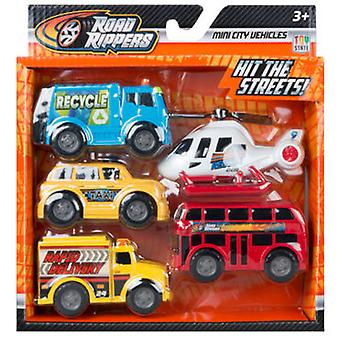 Road Rippers Pack 5 Mini Vehicles Transport Rr