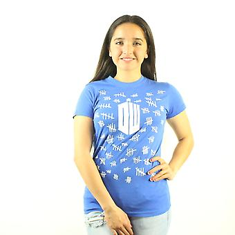 Doctor Who Tally Marks Women's Blue T-shirt