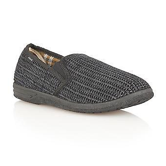 Lotus Slippers Men's Bevis Black Corduroy Slippers