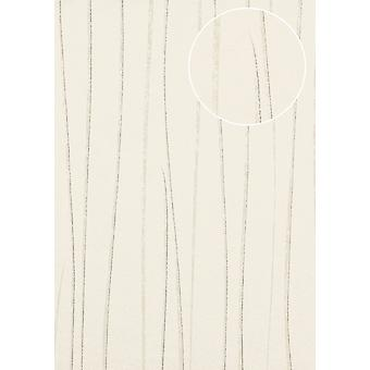 Fine stripe wallpaper Atlas COL-568-2 non-woven wallpaper smooth design shimmering silver grey white 5.33 m2