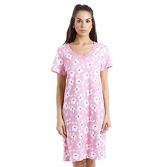 Camille White Floral Print Pink Cotton Nightdress