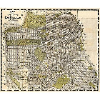 Sanfransisco City Map California Candrain 1932 Poster Print Giclee