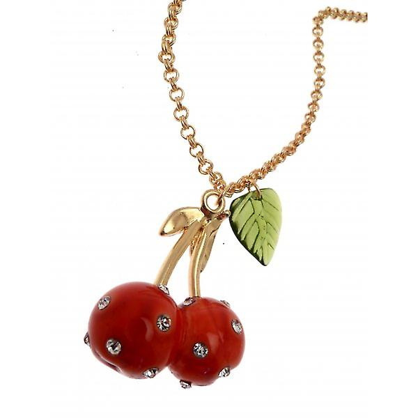 W.A.T Gold Style Sparkling Crystal Red Cherry Pendant