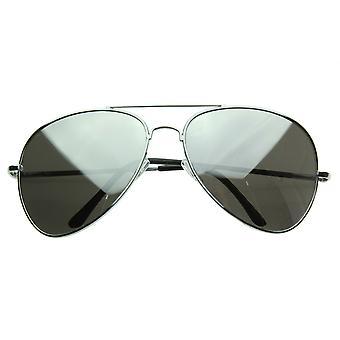 Grote metalen piloten gespiegeld Aviator zonnebril
