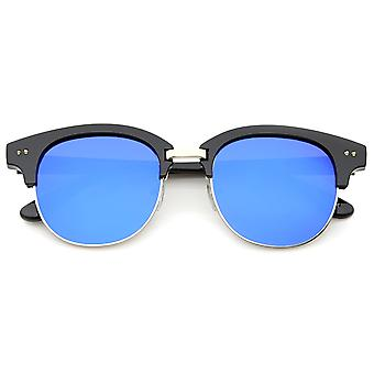 Bold Metal Nose Bridge Color Mirror Lens Round Half-Frame Sunglasses 52mm