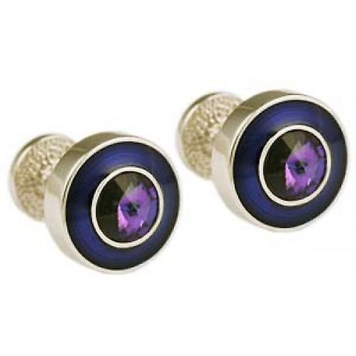Mousie Bean Round Cufflinks - Blue/Purple