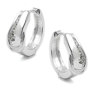 Silver Creole white cubic zirconia partially frosted Creole hinged flip top Silver 925