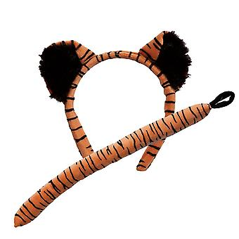 Adults Tiger Ears & Tail Animal Fancy Dress Accessory Set