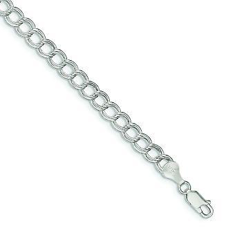 Hueco de plata pulido langosta garra cierre 6mm doble enlace encanto pulsera - pinza de langosta - longitud: 6 a 8