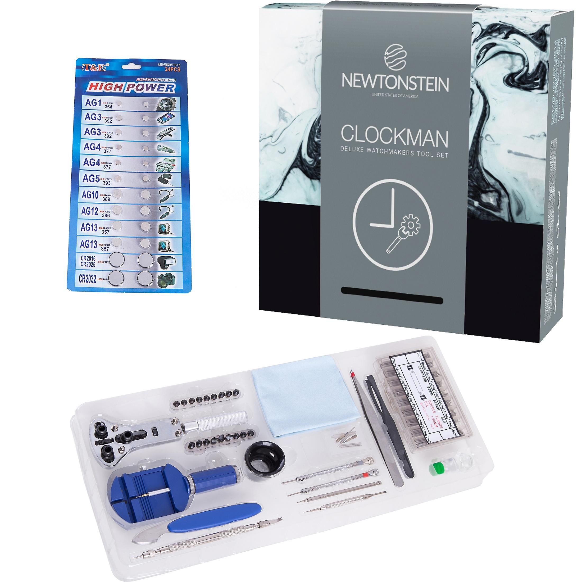 Clockman - A 420 Pieced Deluxe Watchmakers Tool Set Featuring Housing and Case Opener/Pry Tools and Pin Punches Steel Tweezers Link Bracelet Adjuster 360 Pieces of Various Steel Spring Bars and Tools Magnifying Glass Mini Rubber Hammer Precision Pliers Watch Case Holder Watch Band Remover 24 Pieces of Assorted Replacement Batteries Anti-grease + Anti-static Cloth Clock Oil + In Trays and Boxed