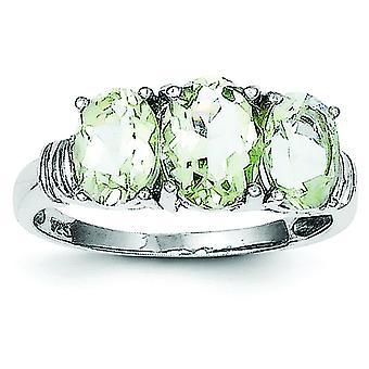 Sterling Silber Rhodium 3 Birne grüne Amethyst und Diamanten Ring - Ring-Größe: 6 bis 8