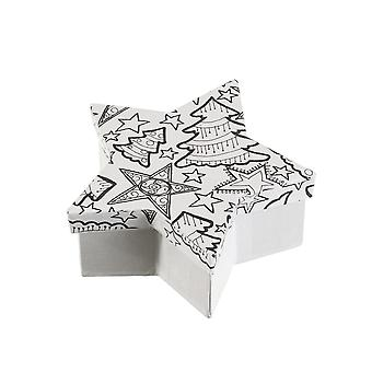 SALE - Small Star Colour & Decorate Christmas Gift Box - 13x13x5cm