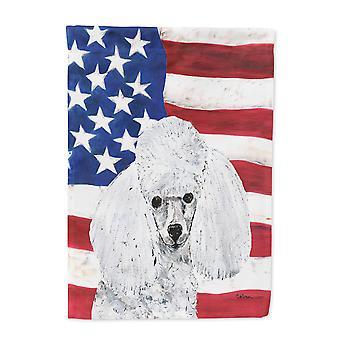 Weißen Zwergpudel mit amerikanische Flagge USA Flagge Leinwandgröße Haus