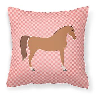 Arabian Horse Pink Check Fabric Decorative Pillow