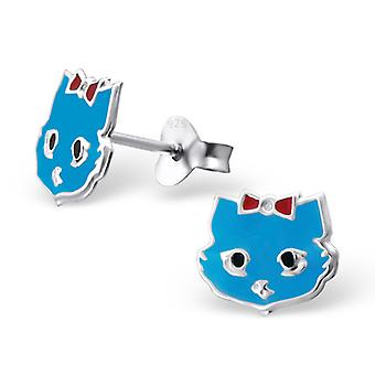 Cat - 925 Sterling Silver + Epoxy Colour Colourful Ear Studs