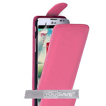 Yousave tillbehör LG L70 läder-effekt Flip Case - Hot Pink
