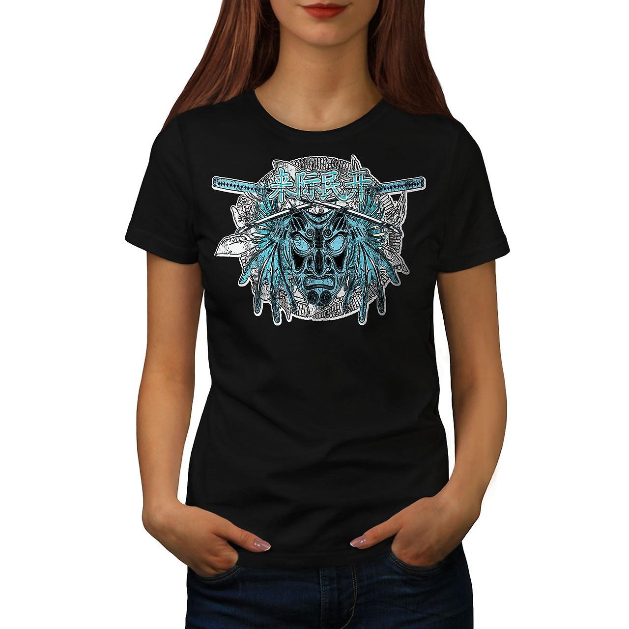 Japan Devil Mask Fantasy Women Black T-shirt   Wellcoda
