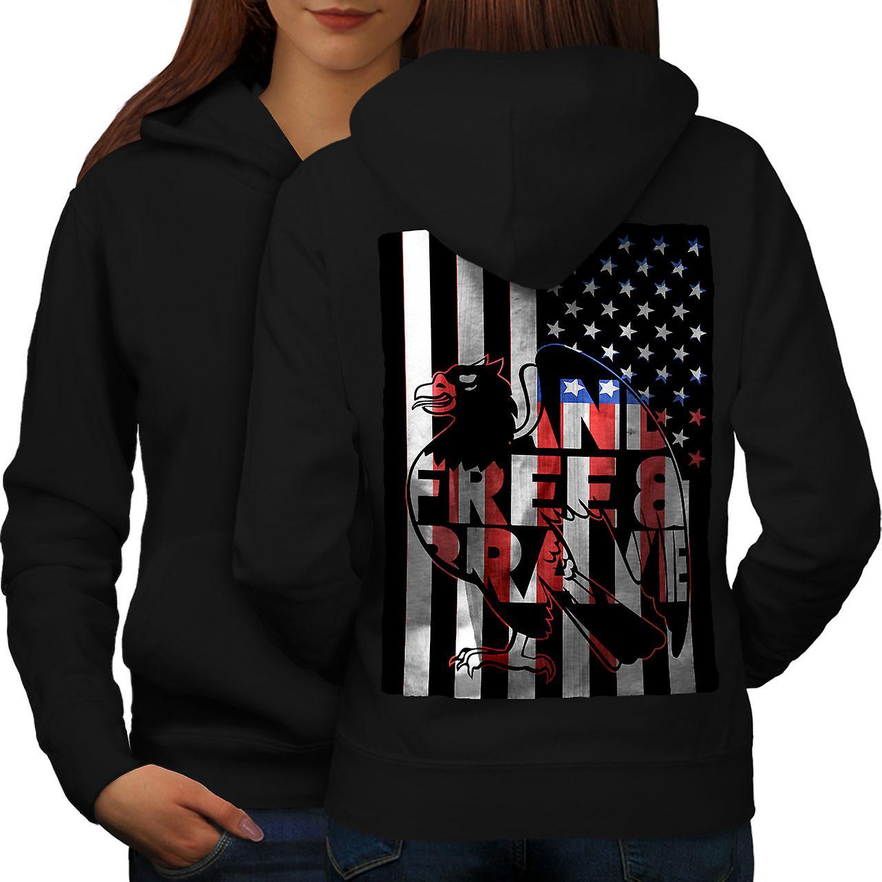 Brave Eagle Bird drapeau USA femmes noirHoodie dos