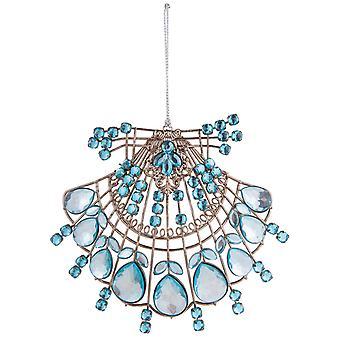 Blå og sølv Beaded Jeweled kammusling Seashell Christmas Holiday Ornament