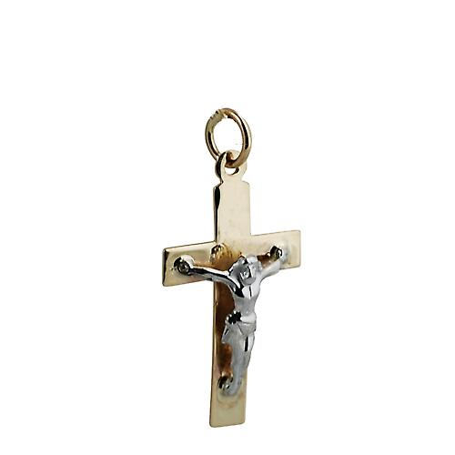 9ct Gold 24x14mm flat latin Yellow Cross and White Crucifix