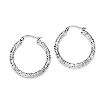 925 Sterling Silver Hollow Round Hoop Earrings - 29mm