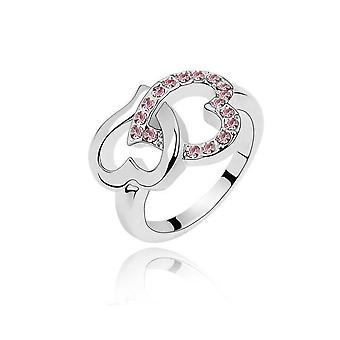 Womens Silver Love Intertwined Heart Ring Pink Stones Diamante