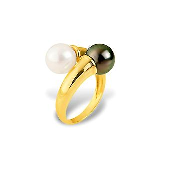 Pearl of Culture white and Tahitian Pearl ring and yellow gold 375/1000