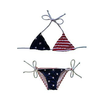 Shore Trendz Kids USA Flag Bikini Triangle Top and Tie Side Made in USA..